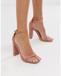 Sandales à talons en cuir roses Glamorous