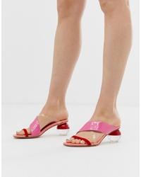 Sandales à talons en cuir roses Jeffrey Campbell