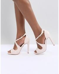 Sandales à talons en cuir roses Lipsy