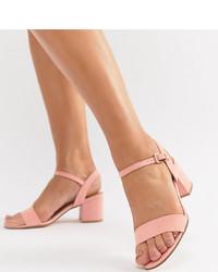 Sandales à talons en cuir roses London Rebel