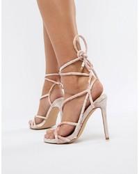 Sandales à talons en cuir roses Missguided