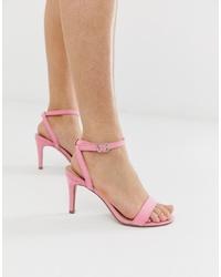 Sandales à talons en cuir roses New Look