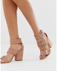 Sandales à talons en cuir roses Public Desire