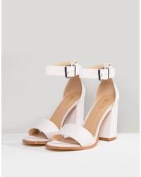 Sandales à talons en cuir roses RAID