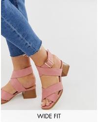 Sandales à talons en cuir roses Raid Wide Fit