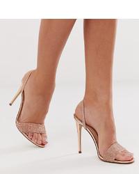 Sandales à talons en cuir roses Steve Madden