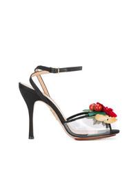Sandales à talons en cuir rouges et noires Charlotte Olympia