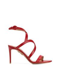 Sandales à talons en cuir rouges Aquazzura
