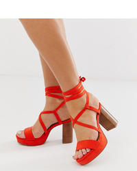 Sandales à talons en cuir rouges ASOS DESIGN