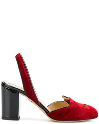Sandales à talons en cuir rouges Charlotte Olympia