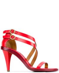 Sandales à talons en cuir rouges Chloé