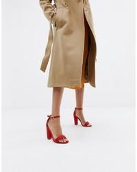 Sandales à talons en cuir rouges Glamorous