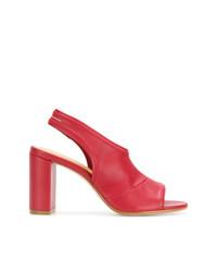 Sandales à talons en cuir rouges MM6 MAISON MARGIELA