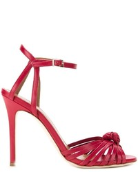 Sandales à talons en cuir rouges