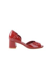 Sandales à talons en cuir rouges Sarah Chofakian