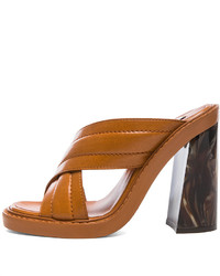Sandales à talons en cuir tabac