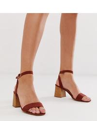 Sandales à talons en cuir tabac New Look