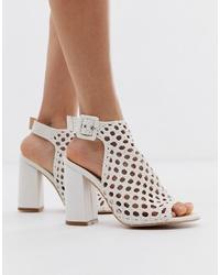 Sandales à talons en cuir tressées blanches SIMMI Shoes