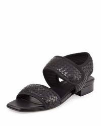 Sandales à talons en cuir tressées noires