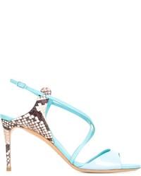 Sandales à talons en cuir turquoise Casadei