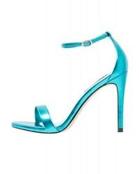 Sandales à talons en cuir turquoise Steve Madden