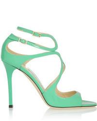 Sandales à talons en cuir vertes menthe
