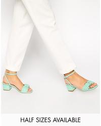 Sandales à talons en cuir vertes menthe Asos