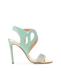 Sandales à talons en cuir vertes menthe Benedetta Boroli