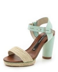 Sandales à talons en cuir vertes menthe Matt Bernson