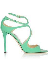 Sandales à talons en cuir vertes