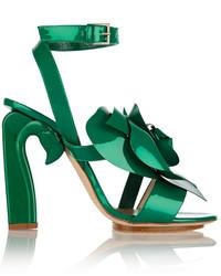 Sandales à talons en cuir vertes DELPOZO