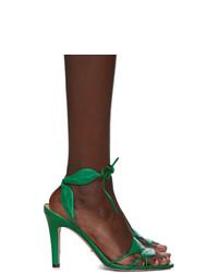 Sandales à talons en cuir vertes Gucci