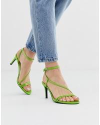 Sandales à talons en cuir vertes Stradivarius
