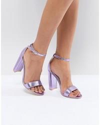 Sandales à talons en cuir violet clair Glamorous
