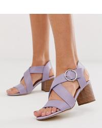 Sandales à talons en cuir violet clair New Look
