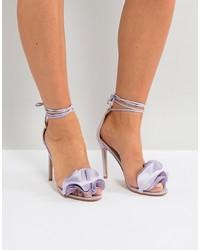Sandales à talons en cuir violet clair Public Desire