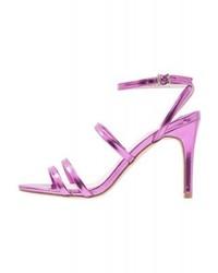 Sandales à talons en cuir violettes claires Faith