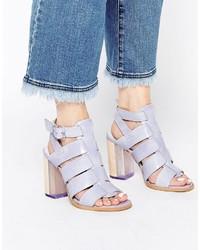 Sandales à talons en cuir violettes claires Miista