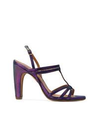 Sandales à talons en cuir violettes