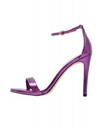 Sandales à talons en cuir violettes Steve Madden