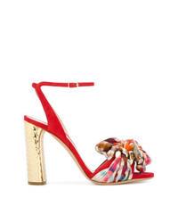 Sandales à talons en daim à carreaux rouges