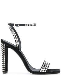 Sandales à talons en daim à clous noires Giuseppe Zanotti Design