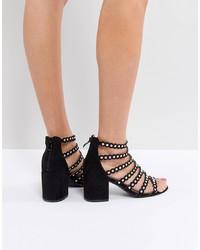 Sandales à talons en daim à clous noires RAID