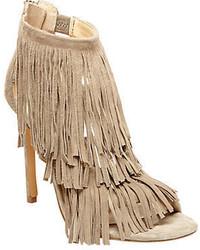 Sandales à talons en daim à franges beiges