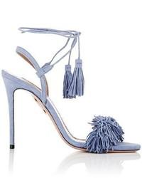 Sandales à talons en daim à franges bleu clair