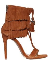 Sandales à talons en daim à franges marron