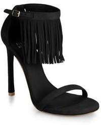 Sandales à talons en daim à franges noires
