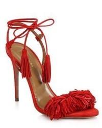 Sandales à talons en daim à franges rouges