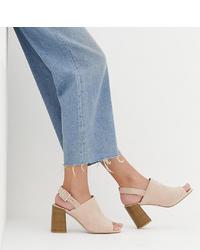 Sandales à talons en daim beiges ASOS DESIGN