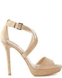 Sandales à talons en daim beiges Giorgio Armani